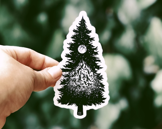 Mountainous Tree Vinyl Sticker