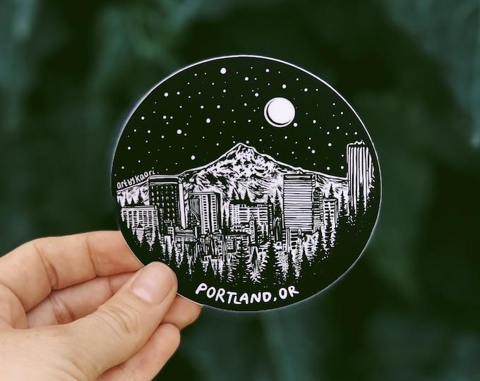 Portland Skyline Circle Vinyl Sticker - PDX Sticker, Oregon sticker, Portland Oregon sticker, Laptop decal, Waterbottle Sticker