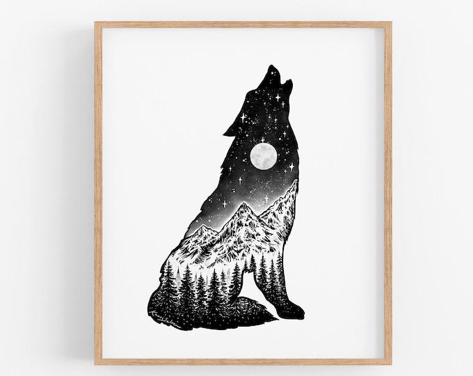 Mountain Wolf II Art Print
