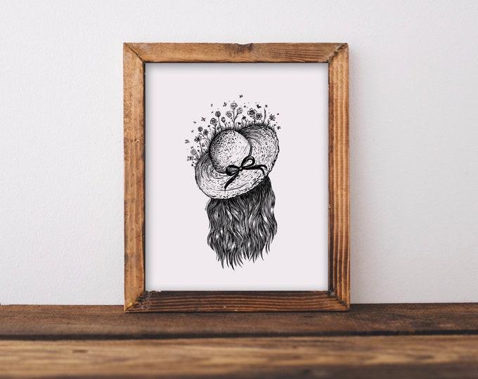Floral Sun Hat Fine Art Print