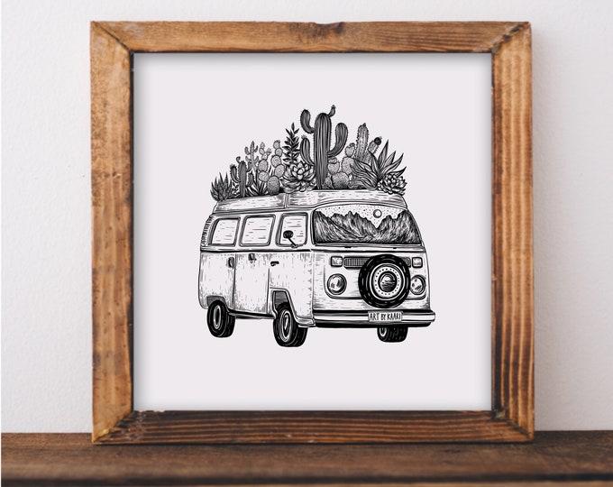 Cacti Van Art Print