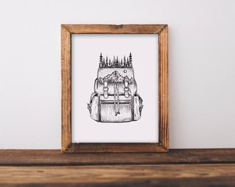 Forested Backpack Fine Art Print
