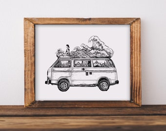 Van + Waves Fine Art Print