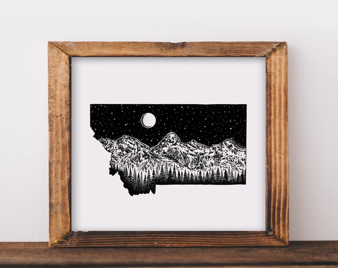 Rocky Mountains + Montana State Outline Fine Art Print