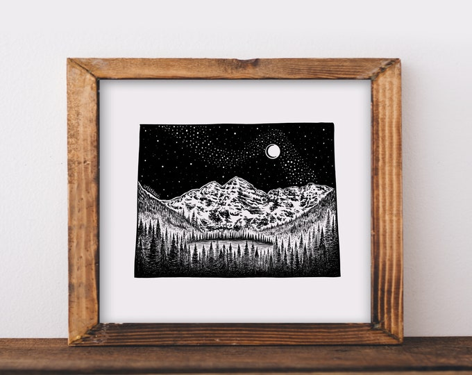 Maroon Bells + Colorado State Outline Fine Art Print