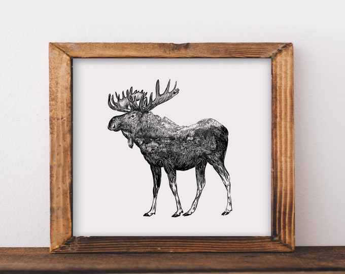 Moose + Alaskan Mountain Town Fine Art Print