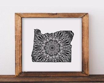 Oregon + Mandala Fine Art Print