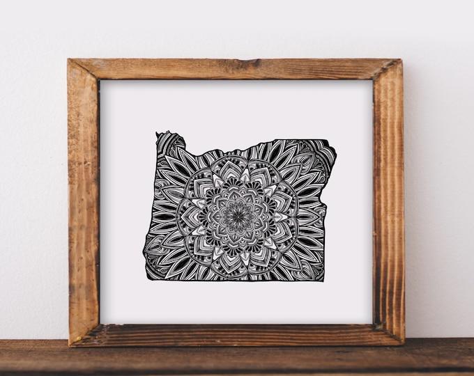 Oregon + Mandala Fine Art Print