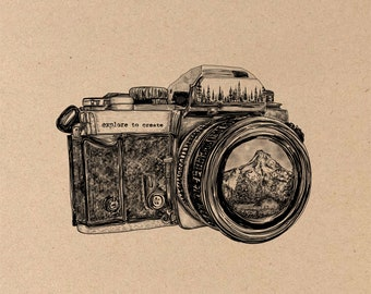 Camera + Mountain Lens Fine Art Print on Toned Tan Paper