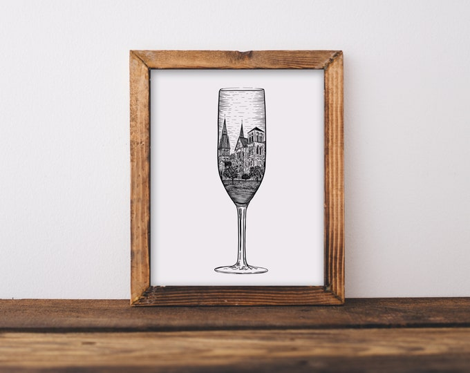 Champagne French Wine Glass Flute (Chalons-en-Champagne Cathedral, France) Art Print