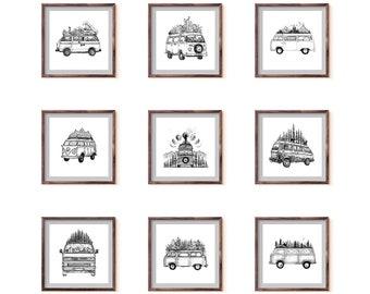 Set of 9 Van Drawing Art Prints