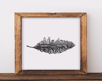 Feathered Portland Skyline Art Print