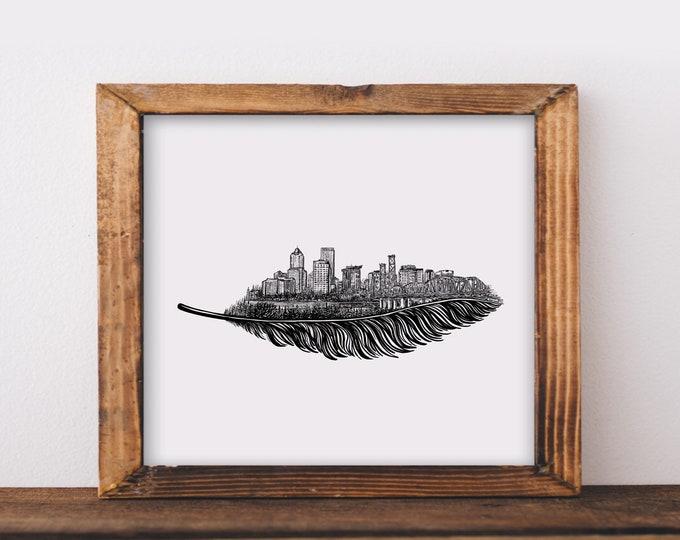 Feathered Portland Skyline Art Print