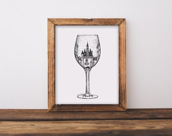 Bordeaux French Wine Glass (Porte Cailhau, France) Art Print