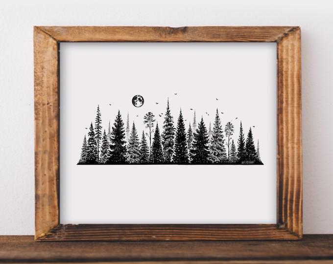 Treescape Line II Art Print