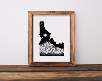 Borah Peak + Idaho State Outline Fine Art Print