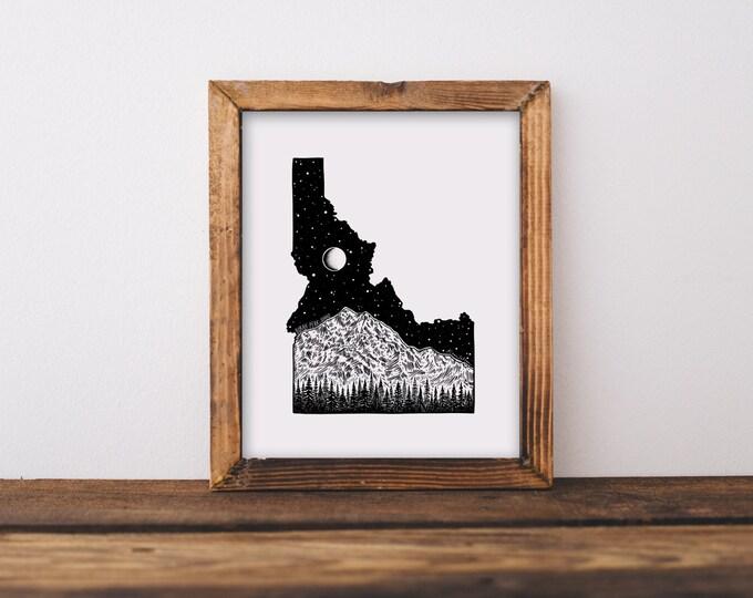 Borah Peak + Idaho State Outline Fine Art Print