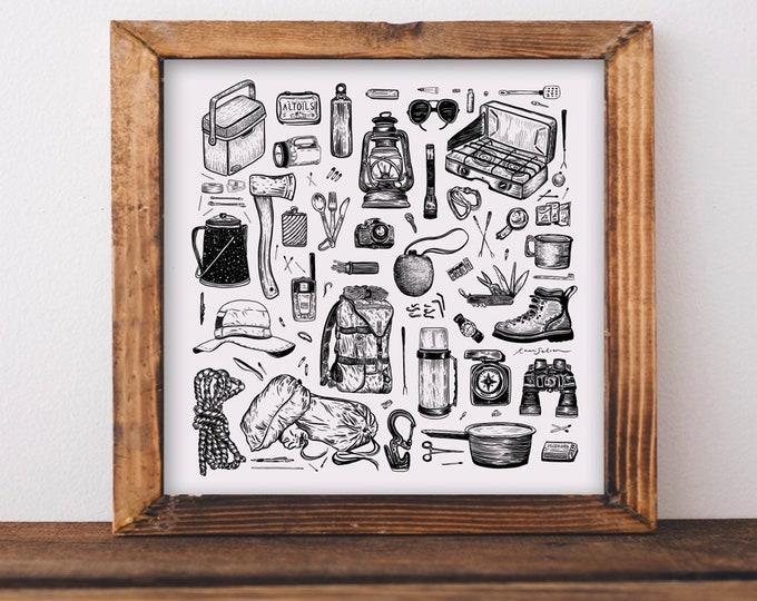 Camping Essentials Art Print