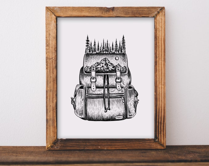 Forested Backpack Art Print
