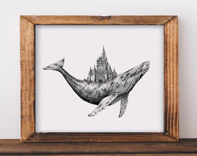 Whale + Castle Art Print