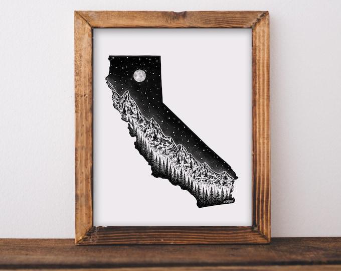 California + Mountain Range State Outline Art Print