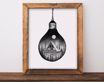 Cabin + Lightbulb Fine Art Print