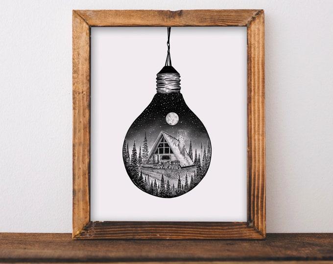 Cabin + Lightbulb Art Print