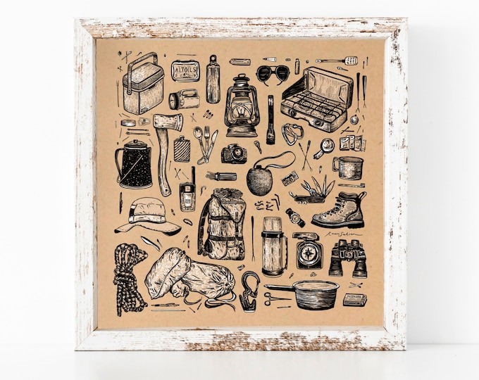 Camping Essentials Art Print (Rustic Edition)