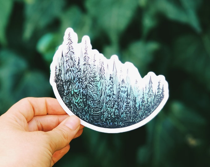 Watercolor Treescape Vinyl Sticker