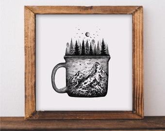 Forested Coffee Mug Art Print