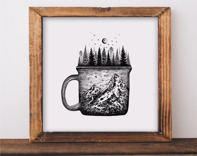 Forested Coffee Mug Art Print