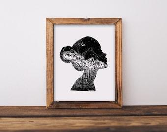 Mountainous Silhouette Fine Art Print