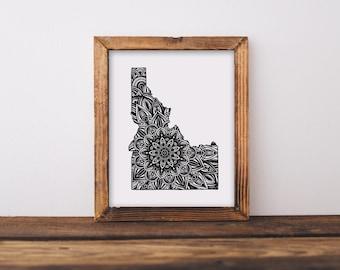 Idaho + Mandala Fine Art Print