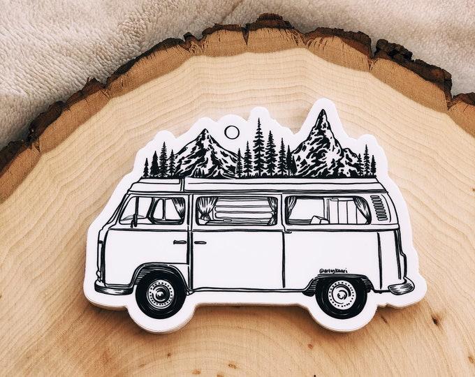 Mountainous Van Vinyl Sticker