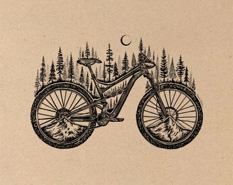 Forested Bicycle Fine Art Print on Toned Tan Paper