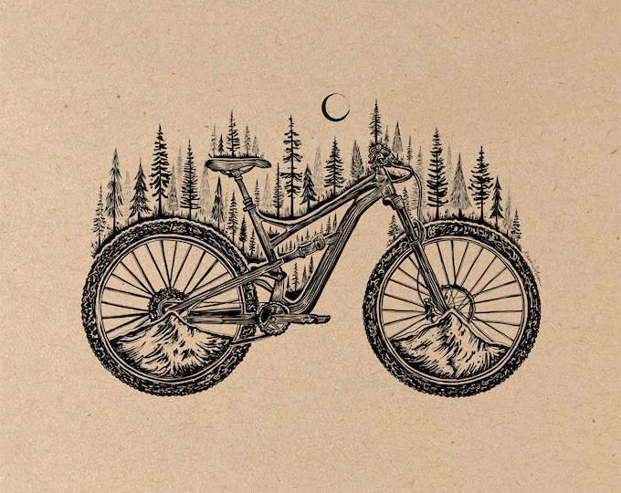 Featured listing image: Forested Bicycle Fine Art Print on Toned Tan Paper