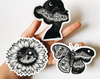 Nature Girl Sticker Pack - Waterproof Butterfly, Sunflower and Mountain Girl Set of Vinyl Stickers