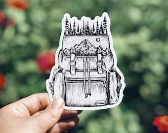Forested Hiking Backpack Vinyl Sticker, PNW-Inspired for Laptop, Waterbottle or Bumper Sticker Use