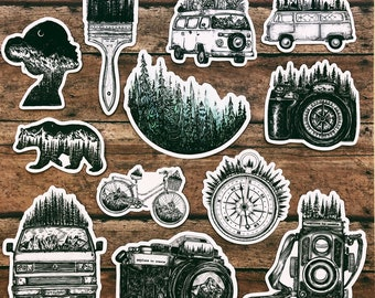 Set of 12 Adventure & Outdoor- Themed Stickers