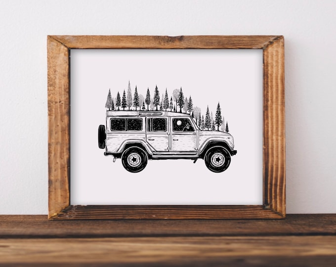 Forested Jeep Fine Art Print