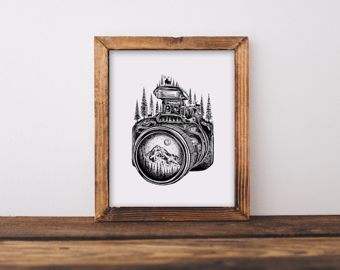 Forested Camera + Mountain Lens II Fine Art Print