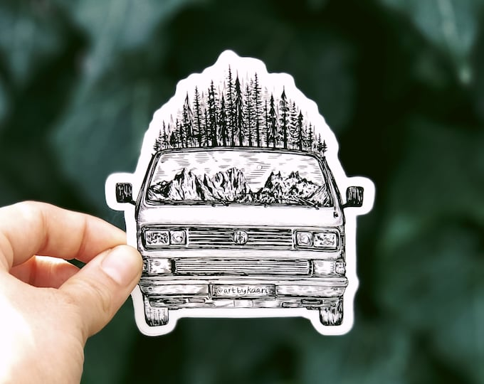Forested Van (Front View) Vinyl Sticker