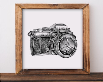 Camera + Mountain Lens Art Print