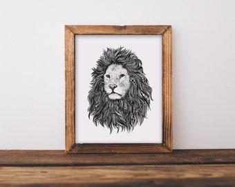Lion Zentangle Fine Art Print