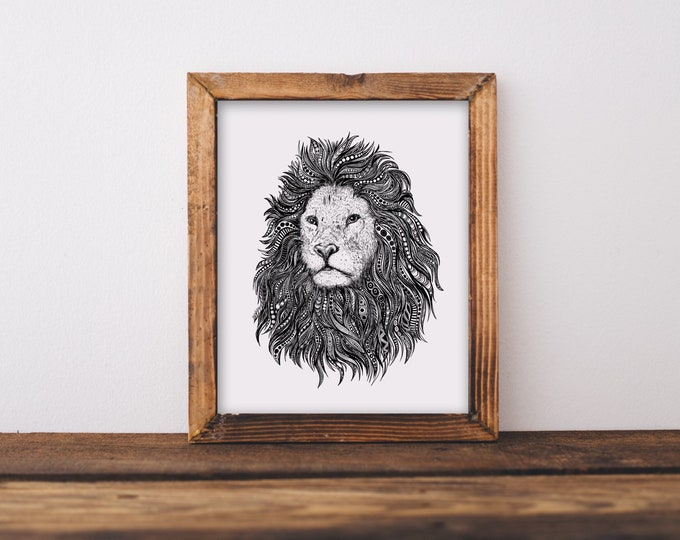 Lion Zentangle Fine Art Print