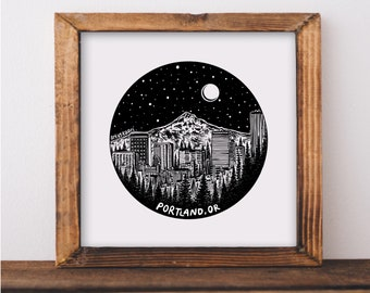 Portland, Oregon Skyline Fine Art Print
