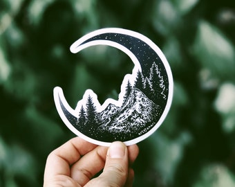 Mountain Moon Vinyl Sticker