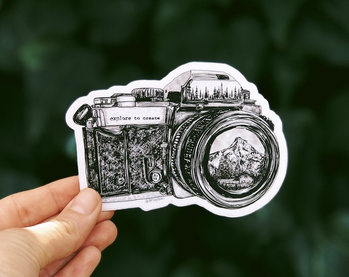 Camera + Mountain Lens Vinyl Sticker