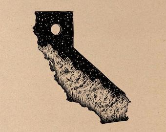 California + Mountain Range Art Print on Toned Tan Paper