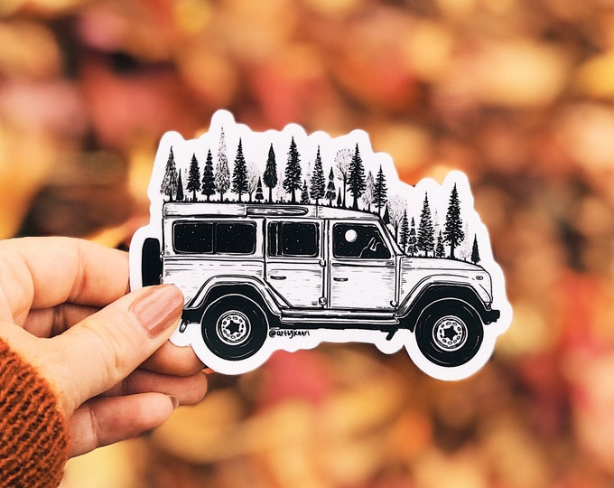 Forested Jeep Vinyl Sticker